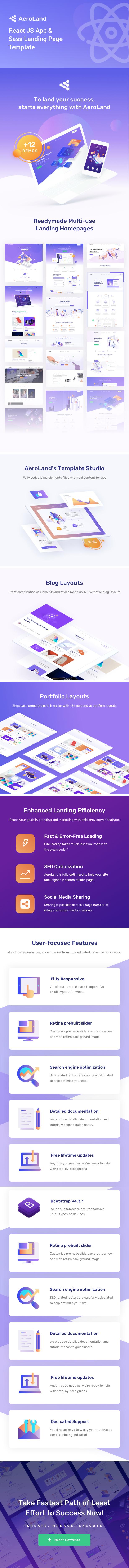 Aeroland – React JS App & Sass Landing Page Template - 1