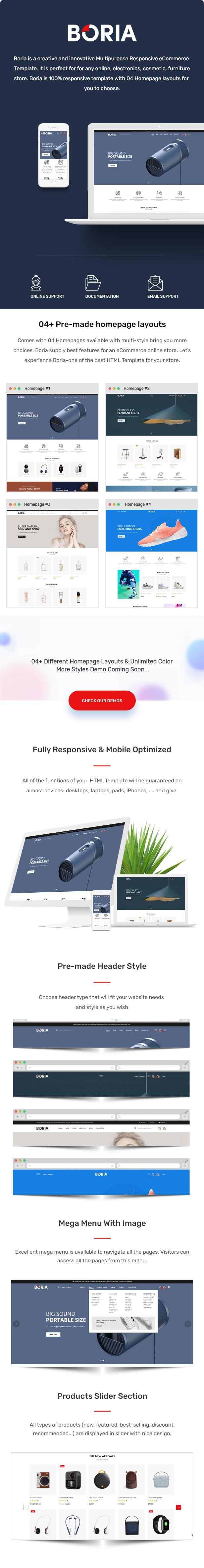 Boria - Multipurpose Responsive eCommerce HTML Template - 1