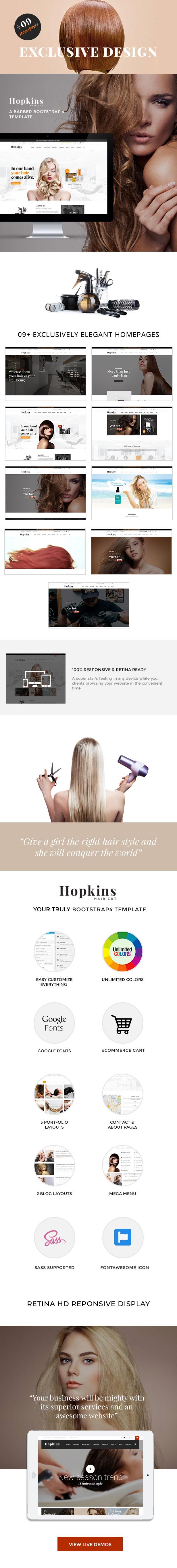 Barber Shop & Hair Salon HTML - Hopkins