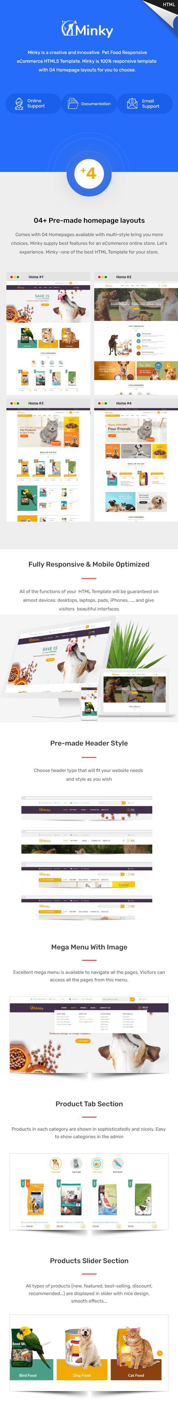 Minky – Pet Food Responsive eCommerce HTML5 Template - 1