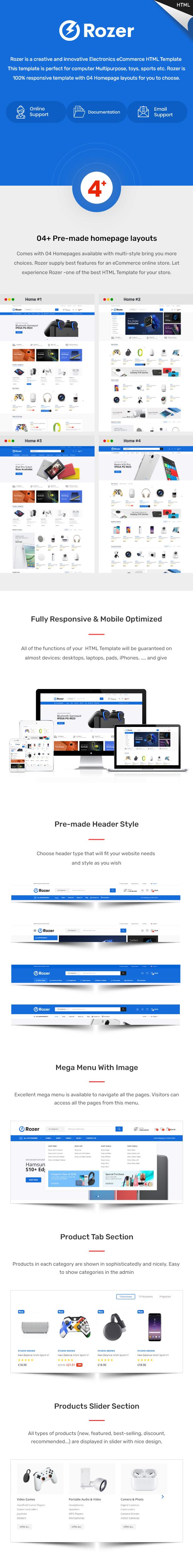 Rozer – Electronics eCommerce HTML5 Template - 1